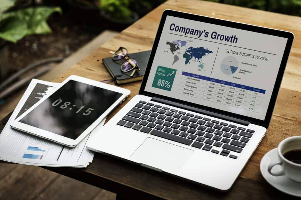 Top SEO Pages Digital Laptop Working Global Business Concept
